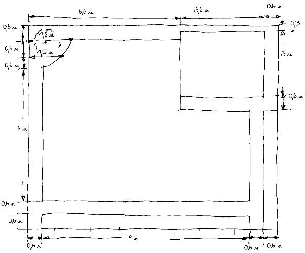 Первый эскиз к плану участка