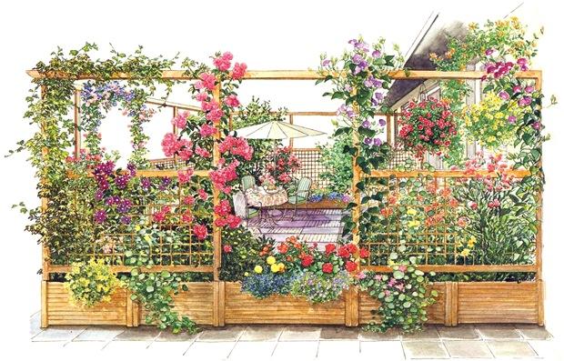 Цветущая терраса перед домом